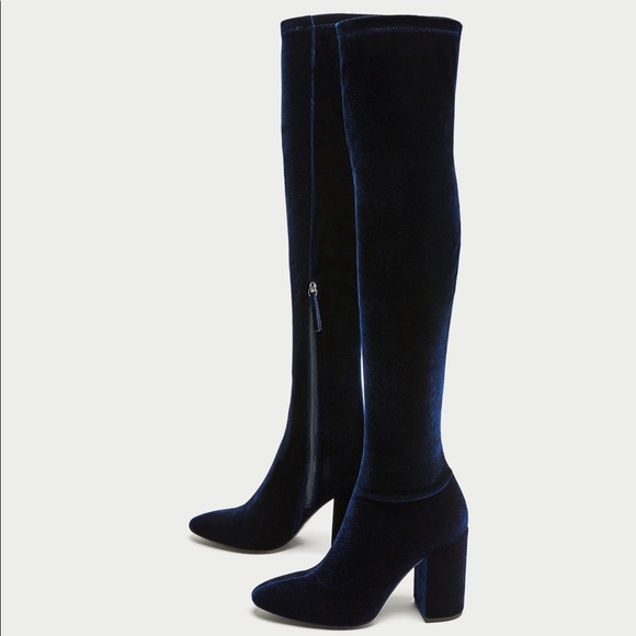 a6a56ed4f54 NWT Zara Navy Blue Over the Knee High Heel Boots